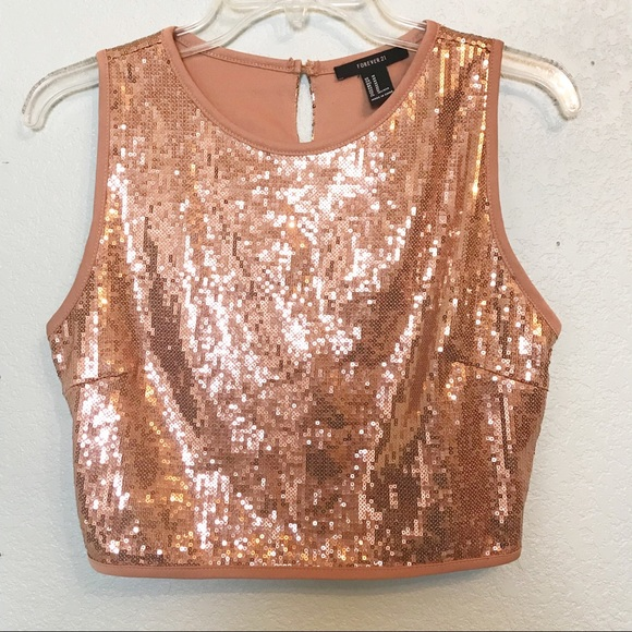 4fde471811 Forever 21 Tops - F21 Rose Gold Sequin Party Club Crop Top Medium